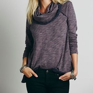 Free People Beach Cocoon Cowl Neck Pullover Purple